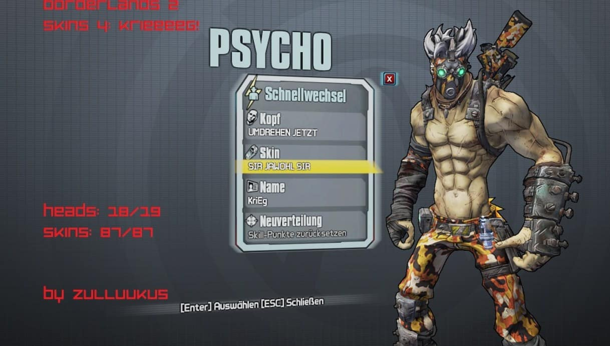 Borderlands 2 Psycho skin pack
